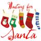 """Waiting for Santa"" Christmas stockings clip art."