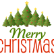 """Christmas trees with the words """"Merry Christmas."""""""