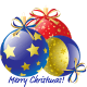 """Three Christmas ornaments with the message """"Merry Christmas."""""""