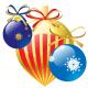 Three Christmas ornaments.