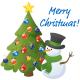 Snowman wishing you a merry Christmas.
