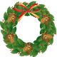 Pine cone holly wreath.