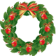 Red ornaments holly wreath.