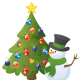 Christmas tree with snowman.