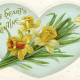 Vintage Valentine hearts aqua with yellow flowers