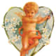 Vintage angel with heart and white flowers