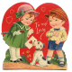 Free vintage heart with little kids and dog clip art