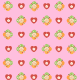 Free baby scrapbook paper: pink with flowers and hearts -- medium size