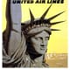 New York vintage travel poster -- Statue of Liberty and United Airlines
