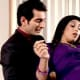 Panchi's Casanova Boss Siddharth saves her from falling from the Ladder