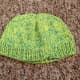 This is a more recent creation made from one strand of green cotton yarn and one strand of blue crochet thread.