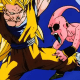 Majin Buu in pain from Son Goku's kick