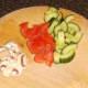 Prepared mushroom, tomato and cucumber