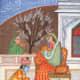 Lord Krishna washing the feet of Rukmani