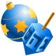 Hanukkah symbols: ornament and dreidel
