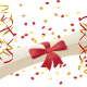 free graduation diploma, streamers and confetti clip art