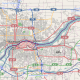 Map of the Quad City metro area in the U.S. states of Illinois and Iowa. The Mississippi River flows through the middle.