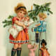 Vintage Christmas cards: little girl playing with antique toys