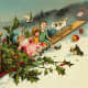 Free vintage Christmas cards: antique toys in a red sleigh