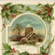 Free Victorian Christmas card with church in the winter snow with a holly border