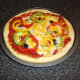 Bell pepper and black olive pizza from scratch