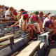 Other people in the bleachers watching the Olympic dressage event in 1992 outside of Barcelona.
