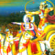 A scene from the Mahabharata. Contemporary lithograph.