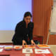 Here is Kavita getting ready for a demonstration.