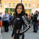 Kim Kardashian at rally event in tight jumpsuit