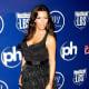 Kim Kardashian in a little black dress and high heels