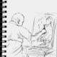 Sketch in pen of my friend Dean, painting.