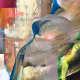 """Detail from Albert Oehlen's oil painting """"Posen des Zorns"""", 2004."""