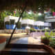 Pool side view at Estrela do Mar Beach Resort in Goa, India