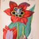 Persimmon-colored tulip clip art