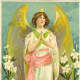 Angel with lilies and roses
