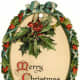 """Free vintage gift tag: oval """"Merry Christmas"""" wreath with holly"""