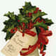 Free vintage gift tag: old fashioned Christmas stocking with holly and red ribbon