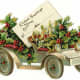 Gift tag: antique car filled with holly