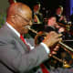 Jazz Trumpeter Clark Terry and the Great Lakes Navy Band Jazz Ensemble in 2002. Terry played in the all-star Navy band at Great Lakes 1941 - 1945 as one of the first Black members.