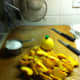 Ingredients for Peach dessert topping.