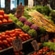 Vegetable shop at Pike Place Market in downtown Seattle