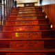Look at the risers on these steps leading upstairs. Memorial on stairway at Goode Co. Barbecue