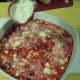 Add flour/sugar mixture to top of raspberries.