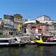 Boats line up at Cais da Ribeira, Porto.