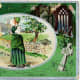 Vintage greeting card: Pretty woman dressed in green preparing to go to mass on St. Patrick's Day