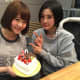 Chijhiro Anai celebrates her 20th birthday with Haruka Kodama (right).