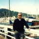 My hubby with the marina as a backdrop - One of the marinas in Sausalito