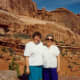 My niece took this photo of my mother and me. Scenery East of Capitol Reef National Park