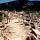 My niece walking amidst the rubble that used to be on top of a mountain in the far distance - Gros Ventre Slide