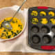 Step 5: Ladle the egg and spinach mixture into the prepared muffin pan.